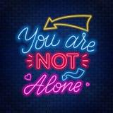 Neon die u niet alleen van letters voorzien ` aangaande Retro Etiket met Kalligrafische Elementen royalty-vrije illustratie