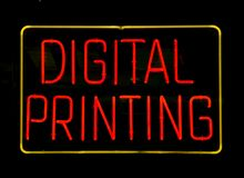 Neon Digital Printing Sign Royalty Free Stock Photo