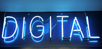 Neon Digital Sign Stock Photography