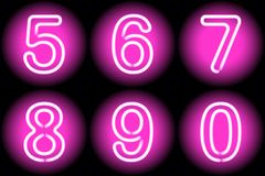 Neon digits Royalty Free Stock Image