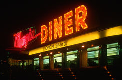 Neon diner sign. At night near Hartford, Connecticut Royalty Free Stock Image