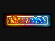 Neon disco club sign. Vector disco club sign - neon lamps made in letter shapes, retro style advertising in yellow, orange and blue colors isolated on black Royalty Free Stock Images