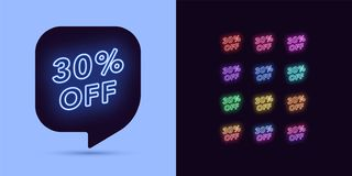 Free Neon Discount Tag, 30 Percentage Off. Offer Sale Royalty Free Stock Image - 155758656