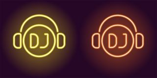 Neon DJ sign in Yellow and Orange color. Vector illustration of DJ icon or label with headphones in glowing neon style. Graphic element for decoration of Night royalty free illustration