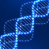Neon dna spiral. Abstract background. Background of glowing helix DNA Stock Photography