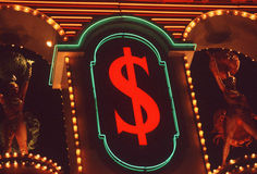 Neon dollar sign, Las Vegas, NV Royalty Free Stock Photography