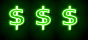 Neon $ dollar sign light stock images