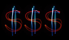 Neon dollars Stock Photos