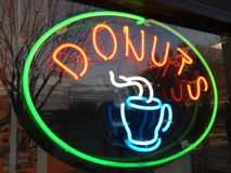 Neon Donut Sign royalty free stock photo