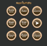 Neon dowload buttons Royalty Free Stock Photos