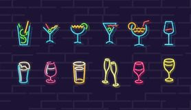 Neon drinks. Cocktails, wine, beer, champagne. Night illuminated wall street sign. Cold alcohol drinks in dark night. Isolated geometric style illustration on royalty free illustration
