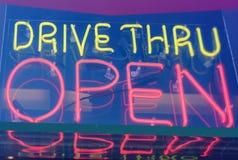 Neon drive thru sign stock photo