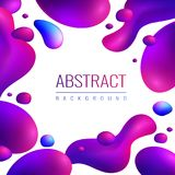Neon Drops Abstract Background. Fluid neon holographic abstract design composition with editable text and fluorescent gradient drops of different size vector Stock Photos