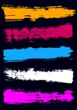 Colored dry brush strokes with a wide brush. Neon dry brush strokes with a wide brush. Brush line collection, set . Yellow, pink, blue, white, purple strokes on Royalty Free Stock Photos