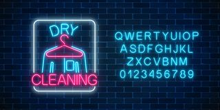 Neon dry cleaners glowing sign with hanger and shirt with alphabet. Cleaning service signboard design. Neon dry cleaners glowing sign with hanger and shirt with royalty free illustration