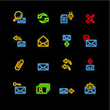 Neon e-mail icons Royalty Free Stock Photos