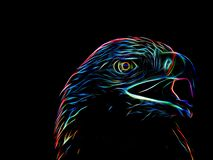 Neon eagle on black background. Closeup Royalty Free Stock Photos