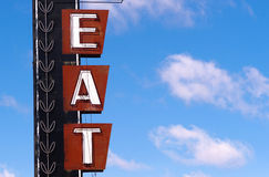 Neon Eat Sign Advertising Food Route 66 Retro Signboard Royalty Free Stock Images