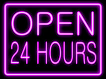 Neon effect  open 24 hours Stock Image