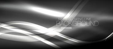 Neon elegant smooth wave lines digital abstract background. Neon elegant smooth wave lines vector digital abstract background stock illustration