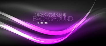 Neon elegant smooth wave lines digital abstract background. Neon elegant smooth wave lines vector digital abstract background Royalty Free Stock Photography