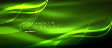 Neon green elegant smooth wave lines digital abstract background. Neon elegant smooth wave lines vector digital abstract background vector illustration