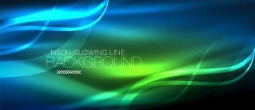 Neon blue elegant smooth wave lines digital abstract background. Neon elegant smooth wave lines vector digital abstract background royalty free illustration