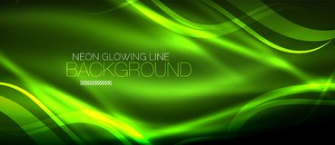Neon green elegant smooth wave lines digital abstract background. Neon elegant smooth wave lines vector digital abstract background Royalty Free Stock Photography