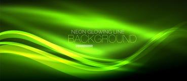 Neon green elegant smooth wave lines digital abstract background. Neon elegant smooth wave lines vector digital abstract background Stock Illustration