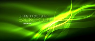 Neon green elegant smooth wave lines digital abstract background. Neon elegant smooth wave lines vector digital abstract background Royalty Free Stock Image