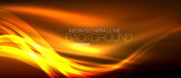 Neon orange elegant smooth wave lines digital abstract background. Neon elegant smooth wave lines vector digital abstract background stock illustration