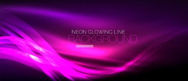 Neon purple elegant smooth wave lines digital abstract background. Neon elegant smooth wave lines vector digital abstract background Stock Illustration