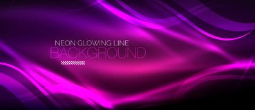 Neon purple elegant smooth wave lines digital abstract background. Neon elegant smooth wave lines vector digital abstract background royalty free illustration