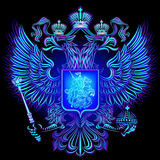 Neon emblem of the Russian Federation. Glowing blue neon emblem Russia on a black background Vector Illustration
