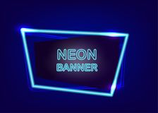 Neon empty text banner. Neon empty sale banner vector illustration. Label template fashion 80s-90s. Electricity light text message frame. Dark blue colored blank Royalty Free Stock Photo