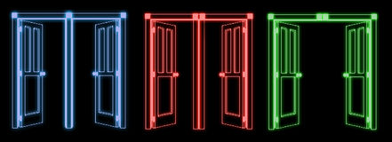 Neon entry. Neon doors illustration royalty free illustration