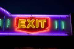 Neon Exit Sign Stock Image