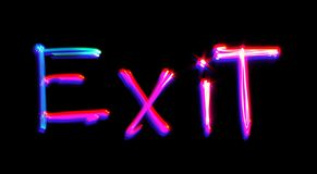 Neon exit word Royalty Free Stock Images