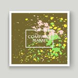 Neon explosion paint splatter artistic cover frame design. Decor. Ative colorful splash spray texture olive background. Trendy creative template vector Cover Royalty Free Stock Photos