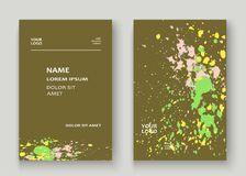 Neon explosion paint splatter artistic cover frame design. Decor. Ative colorful splash spray texture olive background. Trendy creative template vector Cover Stock Image