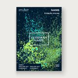 Neon explosion paint splatter artistic cover frame design. Decor. Ative green splash spray texture blue dark background. Trendy template vector Cover Report Royalty Free Stock Image