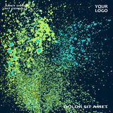 Neon explosion paint splatter artistic cover frame design. Decor. Ative green splash spray texture blue dark background. Trendy template vector Cover Report Stock Images