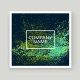 Neon explosion paint splatter artistic cover frame design. Decor. Ative green splash spray texture blue dark background. Trendy template vector Cover Report Royalty Free Stock Photos