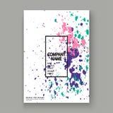 Neon explosion paint splatter artistic cover frame design. Decor. Ative colorful splash spray texture white background. Trendy creative template vector Cover stock illustration