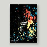 Neon explosion paint splatter artistic cover frame design. Decor Royalty Free Stock Photo