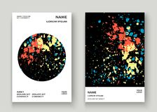 Neon explosion paint splatter artistic cover frame design. Decor Stock Photography
