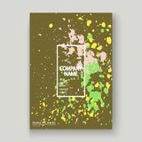 Neon explosion paint splatter artistic cover frame design. Decor. Ative colorful splash spray texture olive background. Trendy creative template vector Cover Stock Photo