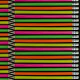Neon färgade blyertspennor Arkivbild