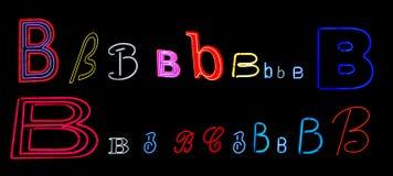 neon för b-samlingsbokstav Royaltyfria Bilder