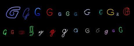 neon för samlingsG-bokstav Arkivbild